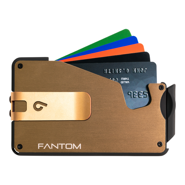 Fantom S 10 Coin Holder Aluminium Wallet (Gold) - Gold Money Clip