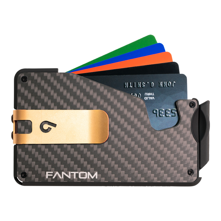 Fantom S 7 Coin Holder Carbon Fibre Wallet - Gold Money Clip