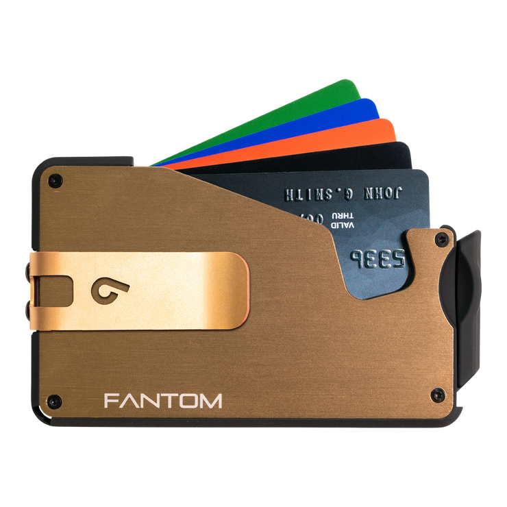 Fantom S 10 Regular Aluminium Wallet (Gold) - Gold Money Clip