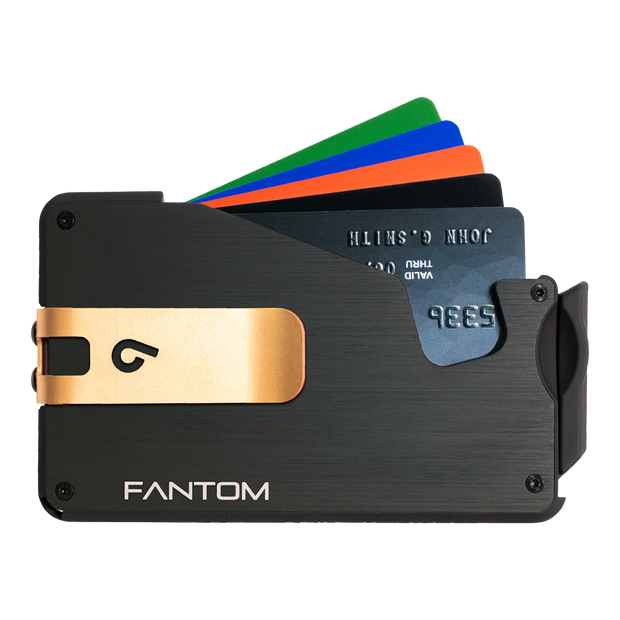 Fantom S 10 Coin Holder Aluminium Wallet (Black) - Gold Money Clip