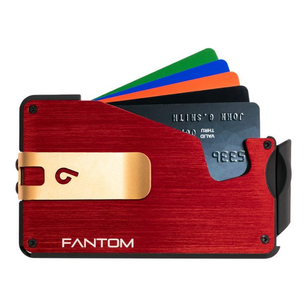Fantom S 13 Coin Holder Aluminium Wallet (Red) - Gold Money Clip