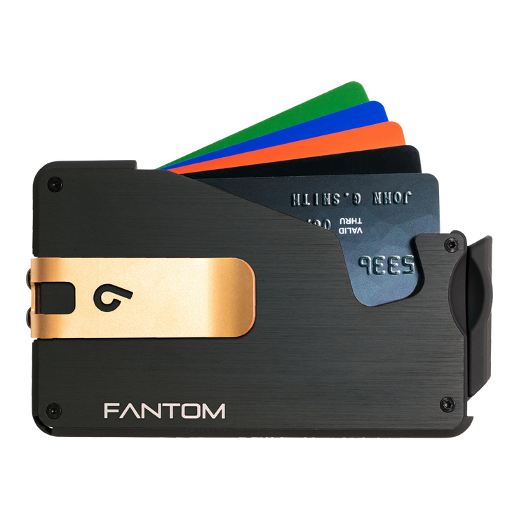 Fantom S 13 Regular Aluminium Wallet (Black) - Gold Money Clip