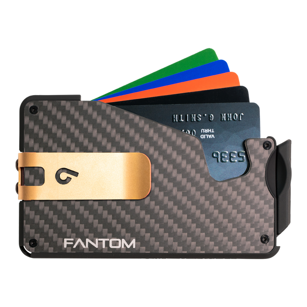 Fantom S 13 Regular Carbon Fibre Wallet - Gold Money Clip