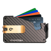 Fantom S 10 Coin Holder Carbon Fibre Wallet - Gold Money Clip