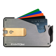 Fantom S 7 Regular Aluminium Wallet (Silver) - Gold Money Clip