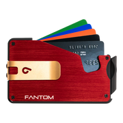 Fantom S 10 Coin Holder Aluminium Wallet (Red) - Gold Money Clip