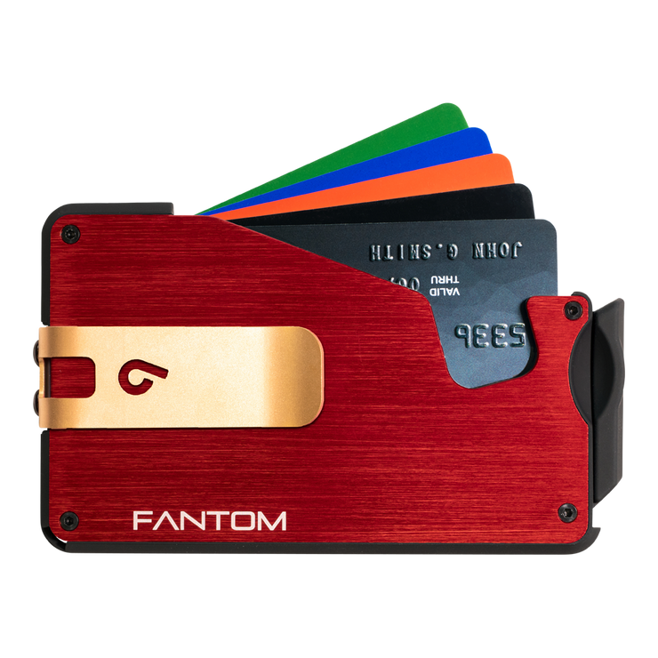 Fantom S 13 Regular Aluminium Wallet (Red) - Gold Money Clip