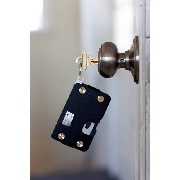 Liquid Carry Aluminium Wallet (Matte Black / Gold Screws) - House Keys
