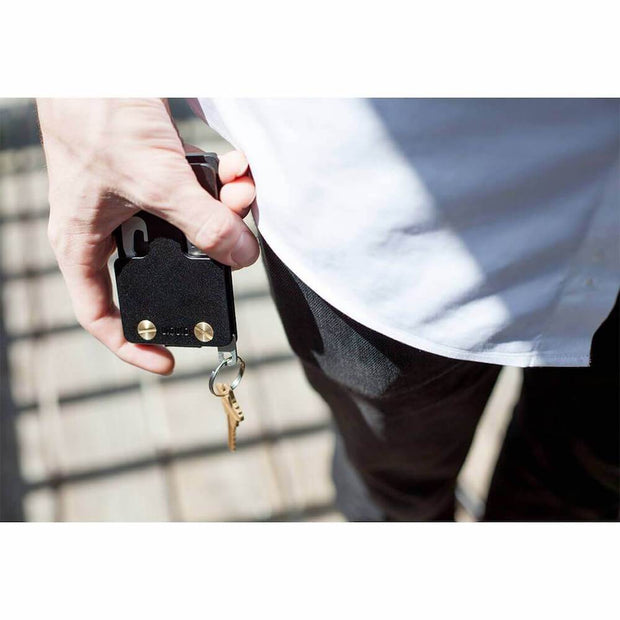 Liquid Carry Aluminium Wallet (Matte Black / Gold Screws) - In Use