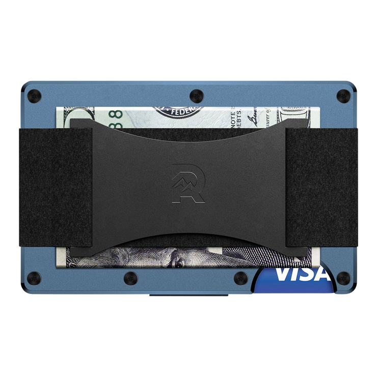 The Ridge Titanium Cash Strap Wallet (Matte Cobalt) - Back View