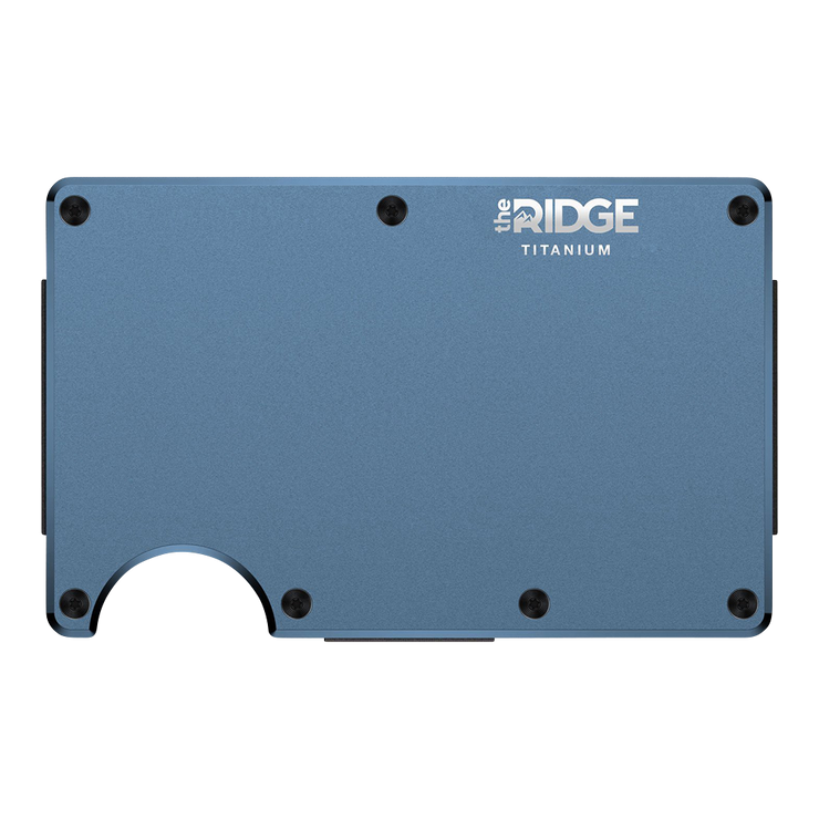 The Ridge Titanium Money Clip Wallet (Matte Cobalt) - Front View