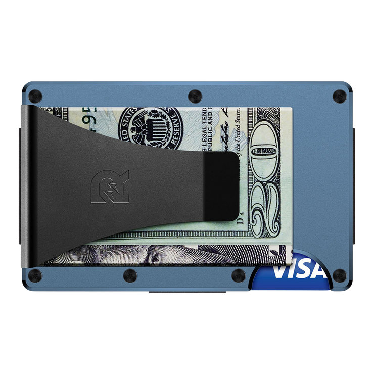 The Ridge Titanium Money Clip Wallet (Matte Cobalt) - Back View