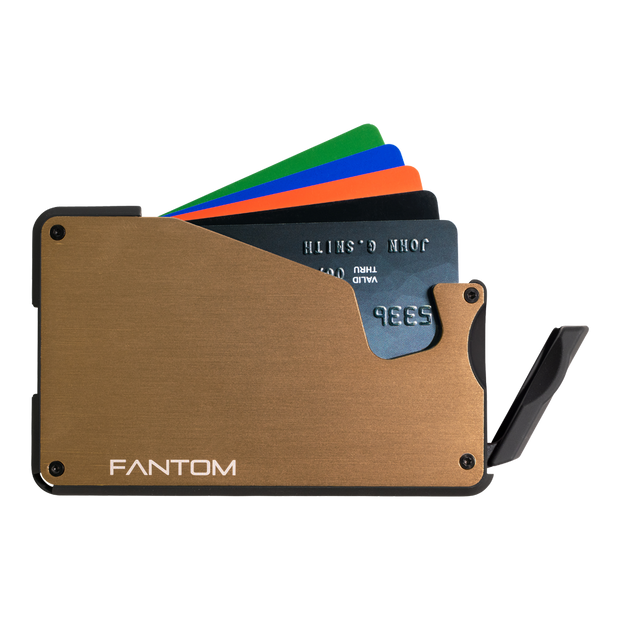 Fantom S 10 Coin Holder Aluminium Wallet (Gold) - Instant Access