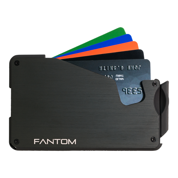 Fantom S 7 Coin Holder Aluminium Wallet (Black) - Cards Fanned