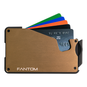 Fantom S 7 Coin Holder Aluminium Wallet (Gold) - Cards Fanned