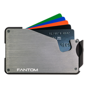 Fantom S 10 Coin Holder Aluminium Wallet (Silver) - Cards Fanned