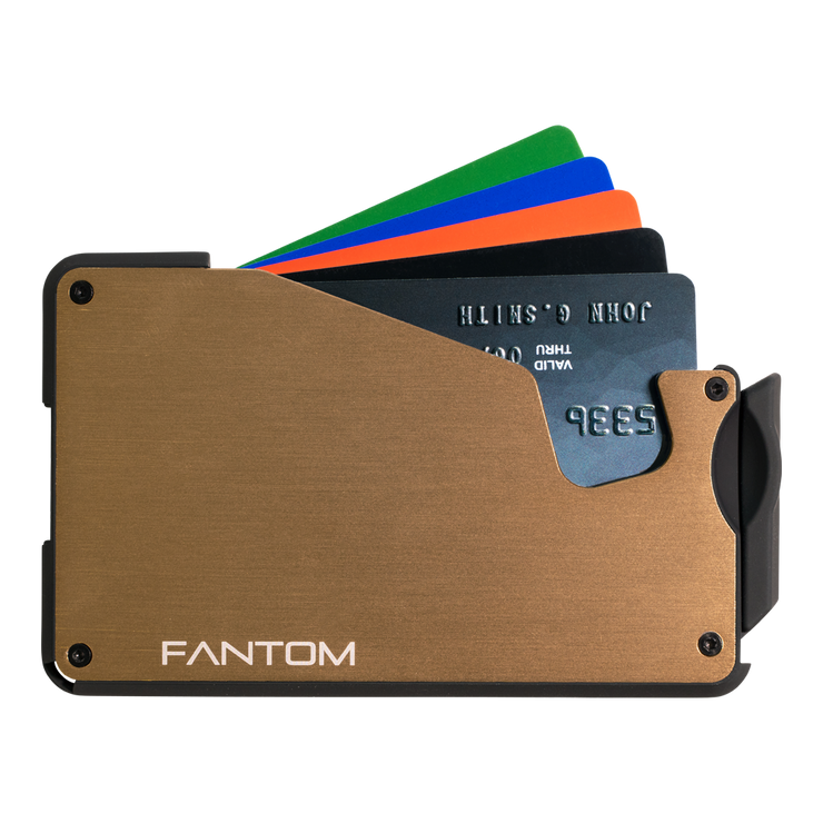 Fantom S 7 Regular Aluminium Wallet (Gold) - Cards Fanned