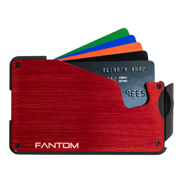 Fantom S 13 Coin Holder Aluminium Wallet (Red) - Cards Fanned