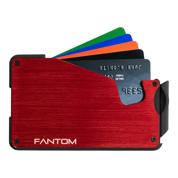 Fantom S 10 Coin Holder Aluminium Wallet (Red) - Cards Fanned