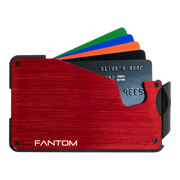 Fantom S 7 Coin Holder Aluminium Wallet (Red) - Cards Fanned