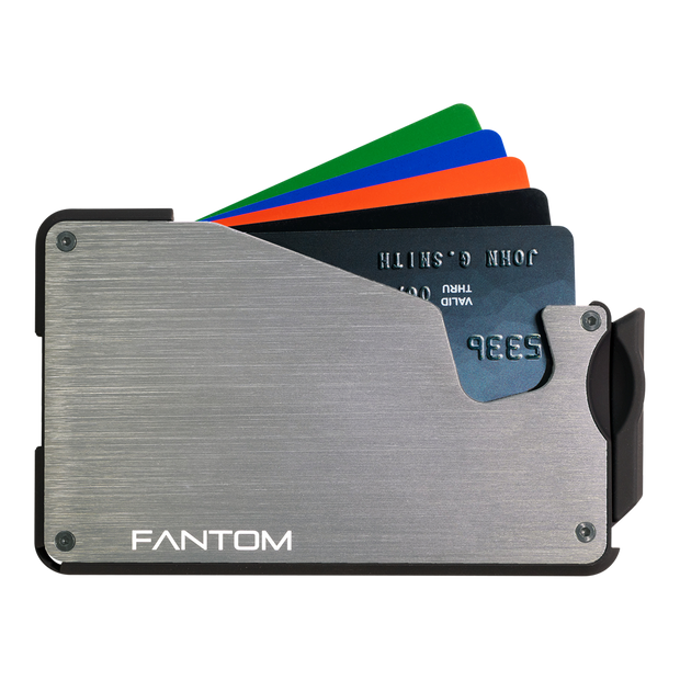 Fantom S 7 Regular Aluminium Wallet (Silver) - Cards Fanned