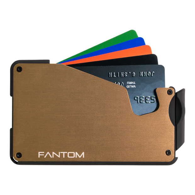 Fantom S 10 Coin Holder Aluminium Wallet (Gold) - Cards Fanned