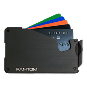 Fantom S 10 Coin Holder Aluminium Wallet (Black) - Cards Fanned
