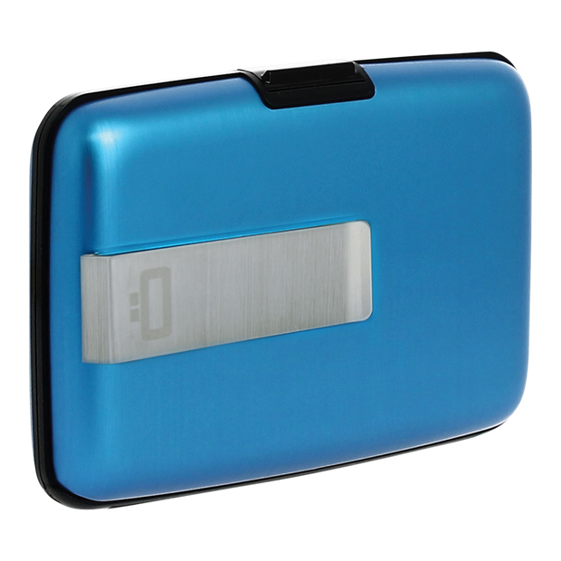 Ögon Stockholm Aluminium Money Clip Wallet (Blue) - Angled View