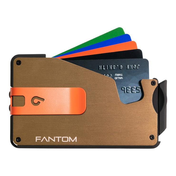 Fantom S 7 Regular Aluminium Wallet (Gold) - Orange Money Clip