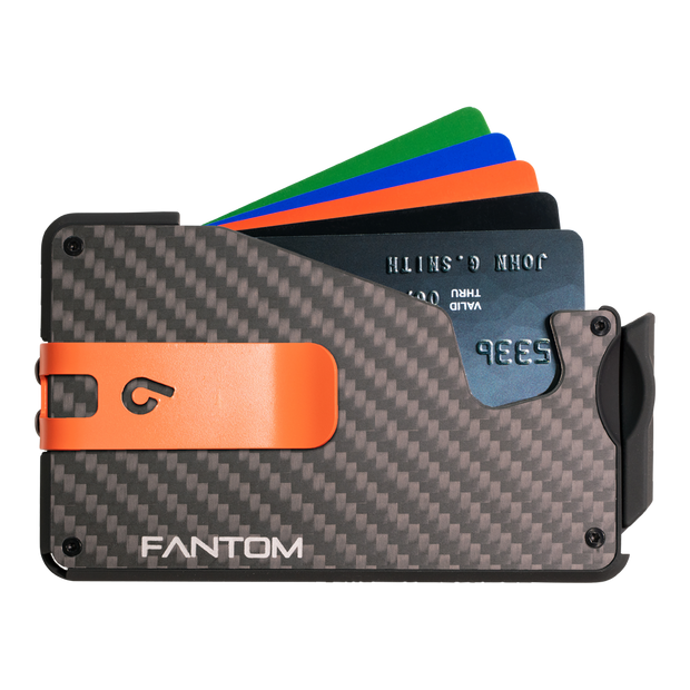 Fantom S 13 Coin Holder Carbon Fibre Wallet - Orange Money Clip