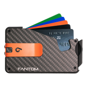 Fantom S 10 Coin Holder Carbon Fibre Wallet - Orange Money Clip