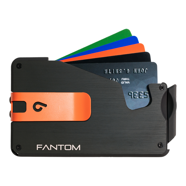 Fantom S 10 Regular Aluminium Wallet (Black) - Orange Money Clip