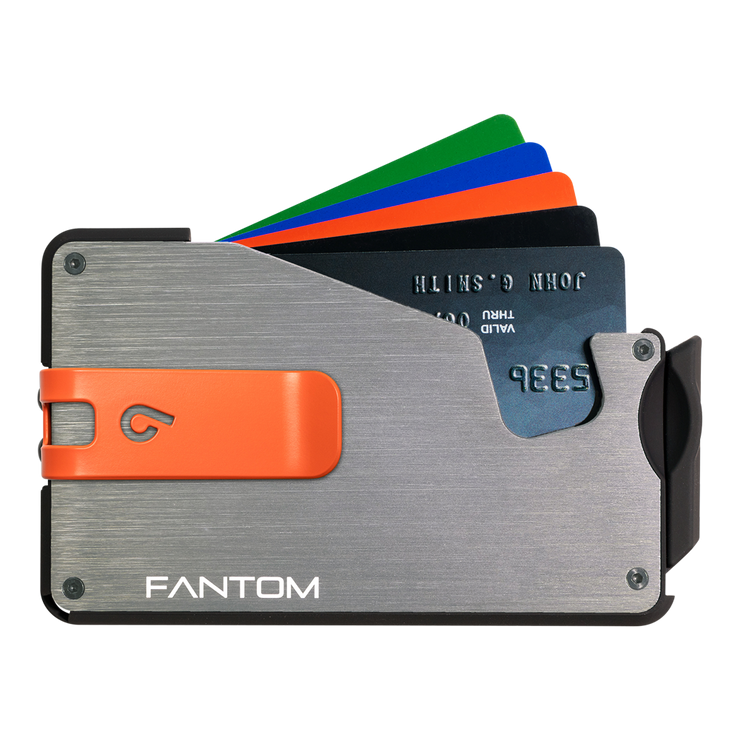 Fantom S 13 Regular Aluminium Wallet (Silver) - Orange Money Clip