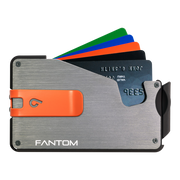 Fantom S 10 Coin Holder Aluminium Wallet (Silver) - Orange Money Clip