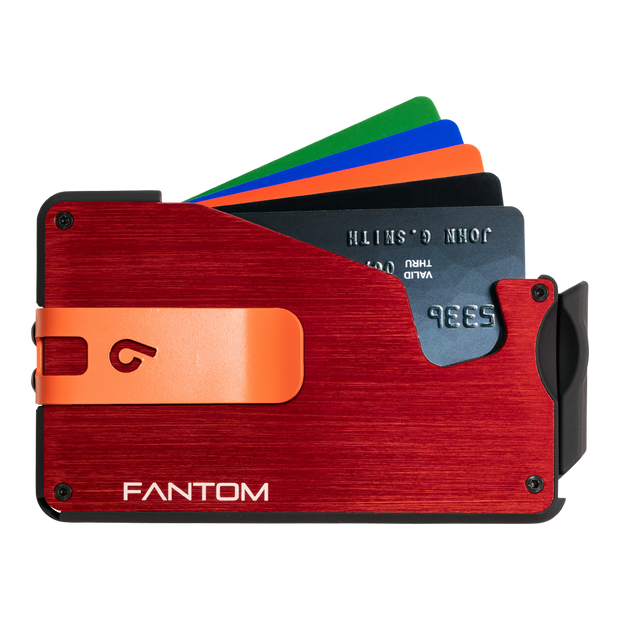 Fantom S 7 Coin Holder Aluminium Wallet (Red) - Orange Money Clip