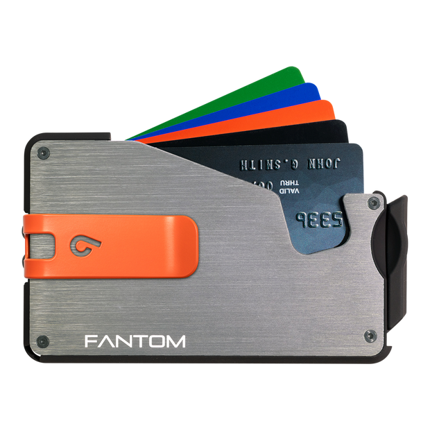 Fantom S 7 Coin Holder Aluminium Wallet (Silver) - Orange Money Clip