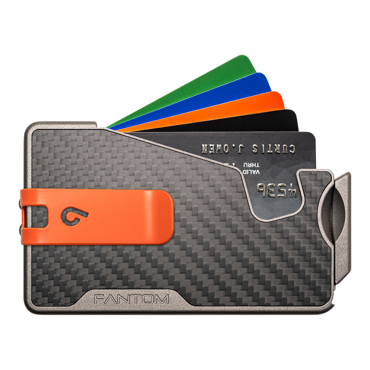 Fantom R 7 Carbon Fibre Wallet - Orange Money Clip