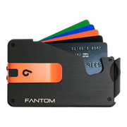 Fantom S 13 Regular Aluminium Wallet (Black) - Orange Money Clip