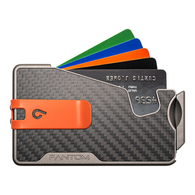 Fantom R 13 Carbon Fibre Wallet - Orange Money Clip