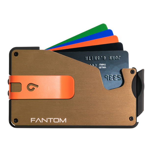Fantom S 10 Coin Holder Aluminium Wallet (Gold) - Orange Money Clip