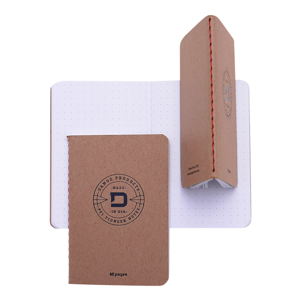 Dango P01 Pioneer Wallet & Dango Pen (Natural Veg Tan) - 48 Page Notebook Multiple View