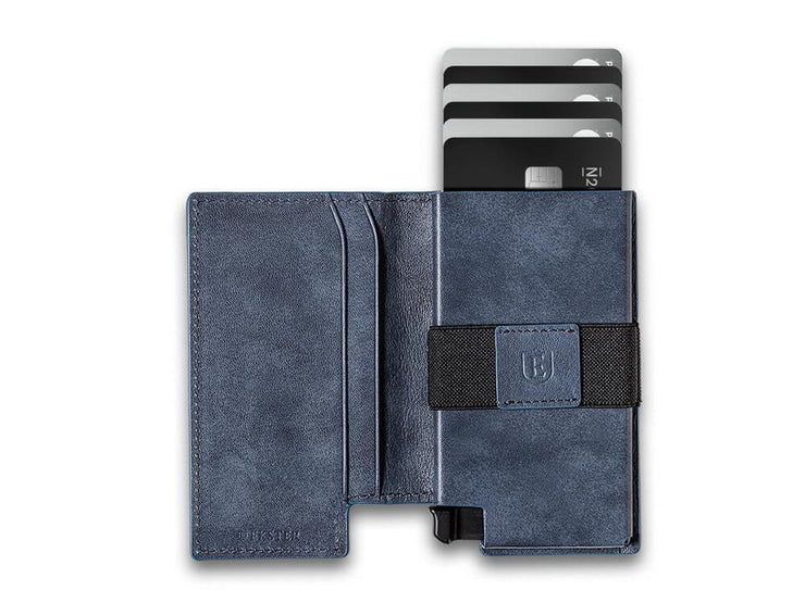 Ekster Parliament Leather Wallet (Steel Blue) - Open View