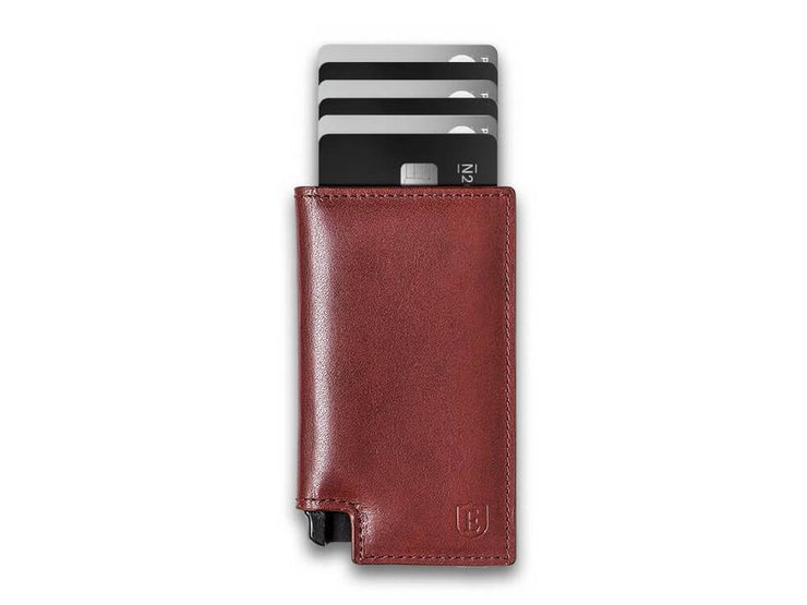 Ekster Parliament Leather Wallet (Merlot Red) - Cards Fanned