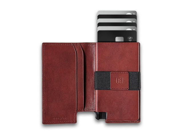 Ekster Parliament Leather Wallet (Merlot Red) - Open View