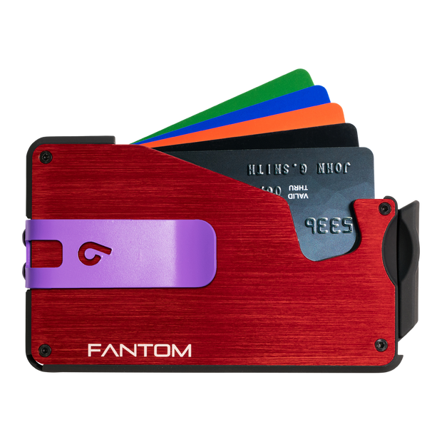 Fantom S 13 Coin Holder Aluminium Wallet (Red) - Purple Money Clip