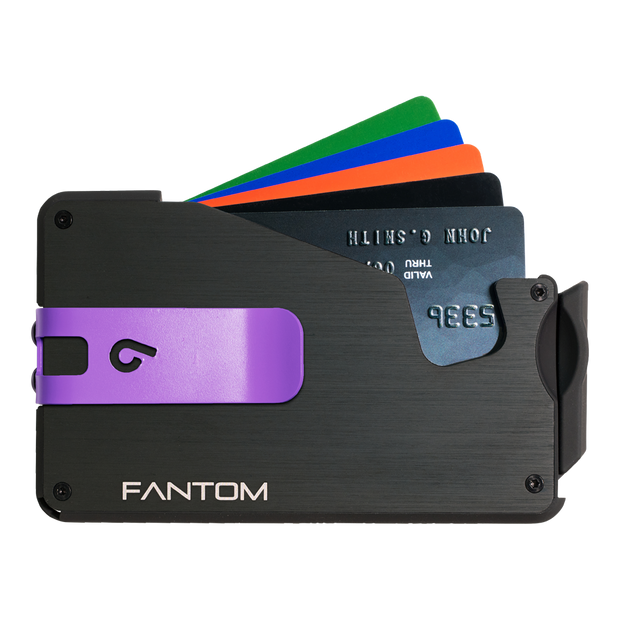 Fantom S 10 Regular Aluminium Wallet (Black) - Purple Money Clip