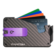 Fantom S 10 Coin Holder Carbon Fibre Wallet - Purple Money Clip