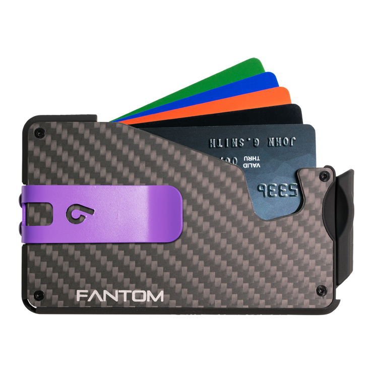 Fantom S 7 Regular Carbon Fibre Wallet - Purple Money Clip
