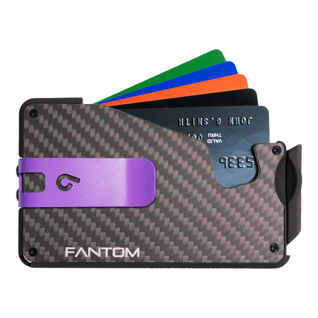Fantom S 13 Coin Holder Carbon Fibre Wallet - Purple Money Clip