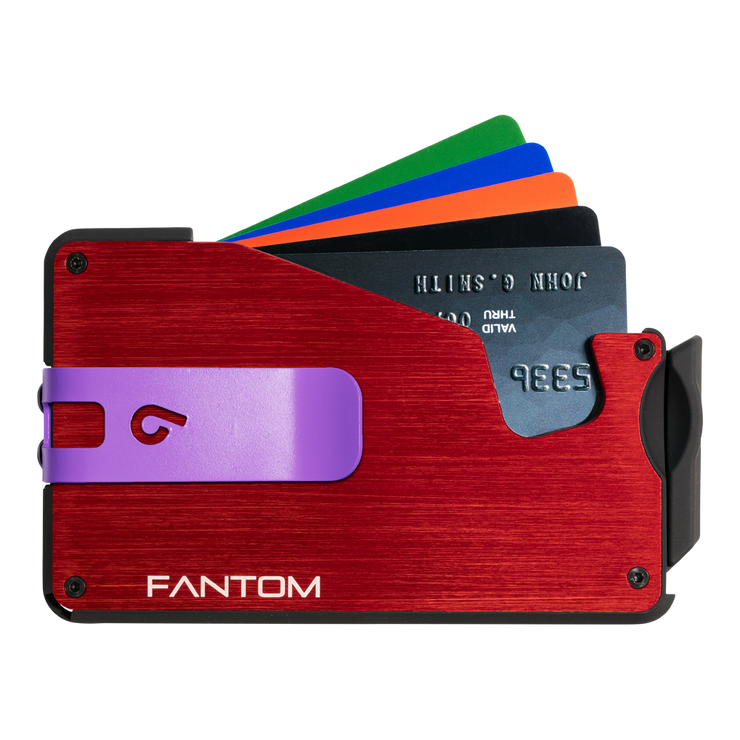 Fantom S 10 Coin Holder Aluminium Wallet (Red) - Purple Money Clip